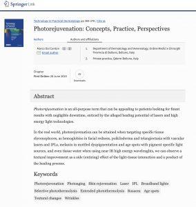 Fotoringiovanimento laser: concetti, pratica, prospettive. Pubblicazione dr. M. Dal Canton